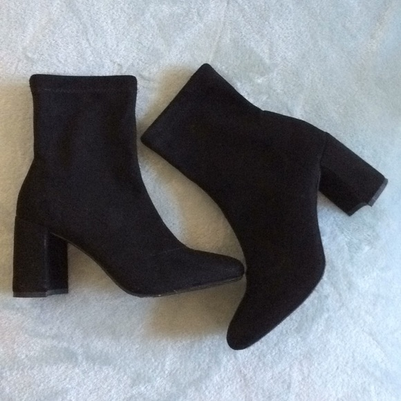 Zooshoo Black Suede Sock Block Heel